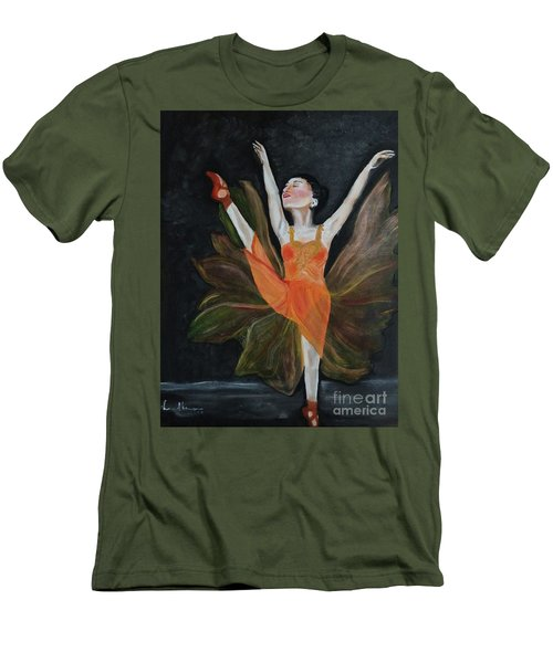 Men's T-Shirt (Slim Fit) featuring the painting Ballet Dancer 1 by Brindha Naveen