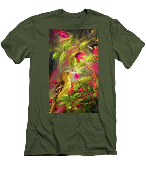 Baltimore Oriole Art- Baltimore Female Oriole Art Men's T-Shirt (Slim Fit) by Lourry Legarde