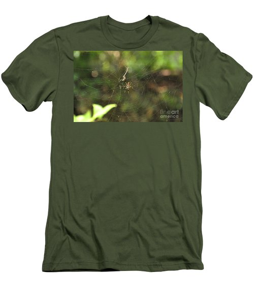 Men's T-Shirt (Slim Fit) featuring the photograph Banana Spider In Web by John Black