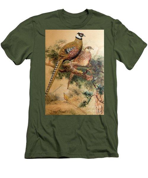 Bar-tailed Pheasant Men's T-Shirt (Slim Fit) by Joseph Wolf