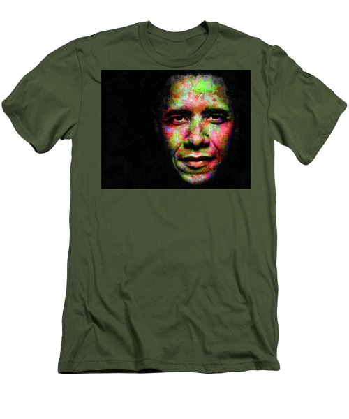 Men's T-Shirt (Slim Fit) featuring the mixed media Barack Obama by Svelby Art