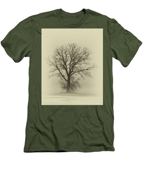 Bare Tree In Fog- Nik Filter Men's T-Shirt (Slim Fit) by Nancy Landry