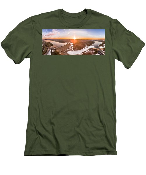 Barkhamsted Reservoir And Saville Dam In Connecticut, Sunrise Panorama Men's T-Shirt (Athletic Fit)