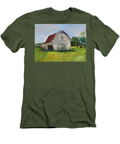 Men's T-Shirt (Athletic Fit) featuring the painting Barn-harrison Park, Ellijay-pinson Barn by Jan Dappen