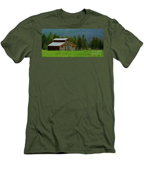 Barn In Rocky Mtn National Park Men's T-Shirt (Slim Fit) by John Roberts