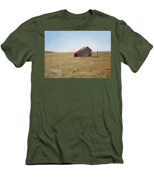 Men's T-Shirt (Slim Fit) featuring the painting Barn by Joshua Martin