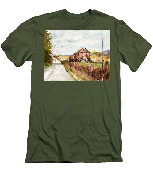 Barns And Electric Poles, Sunday Drive Men's T-Shirt (Slim Fit) by Judith Levins