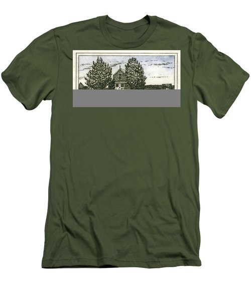 Men's T-Shirt (Athletic Fit) featuring the mixed media Barnstable Yacht Club Etching by Charles Harden
