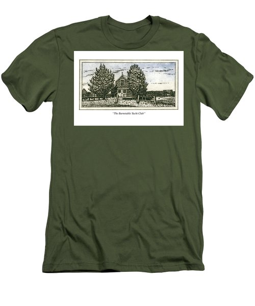 Men's T-Shirt (Athletic Fit) featuring the mixed media Barnstable Yacht Club Greeting Card by Charles Harden