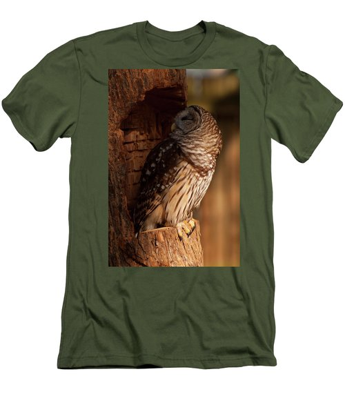Men's T-Shirt (Slim Fit) featuring the digital art Barred Owl Sleeping In A Tree by Chris Flees