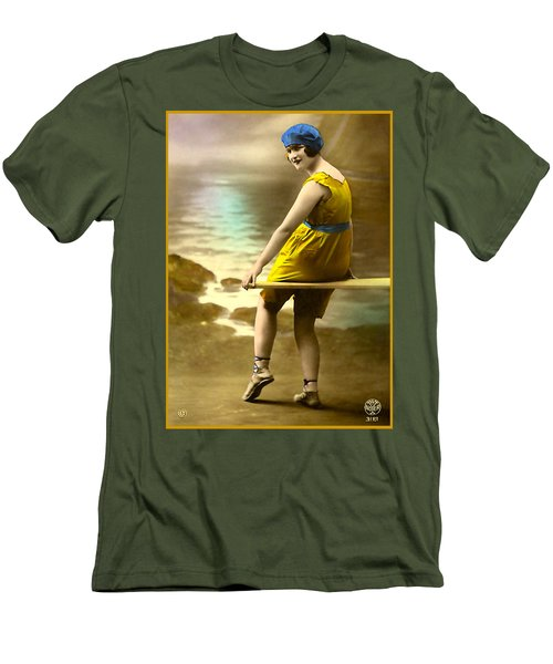 Bathing Beauty In Yellow  Bathing Suit Men's T-Shirt (Athletic Fit)