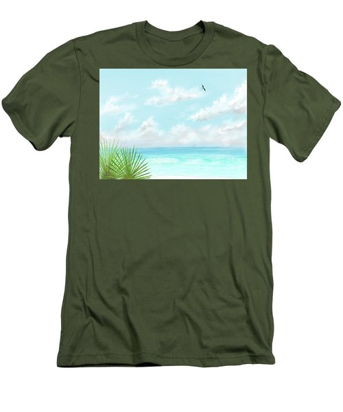 Men's T-Shirt (Athletic Fit) featuring the digital art Beach And Palms by Darren Cannell