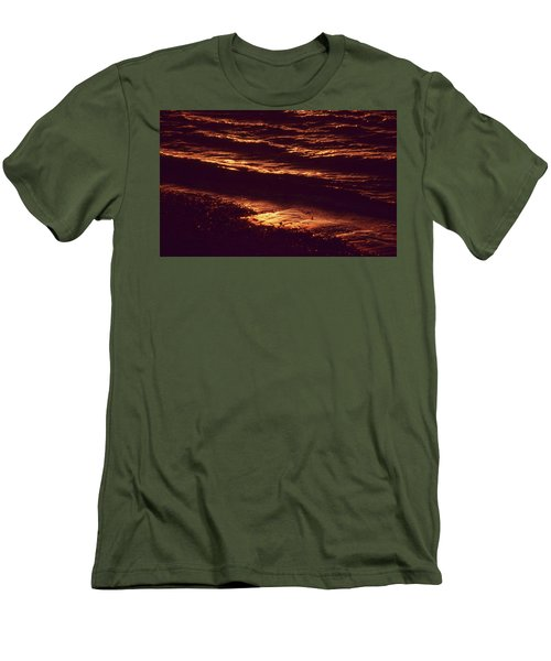Men's T-Shirt (Slim Fit) featuring the photograph Beach Fire by Laurie Stewart