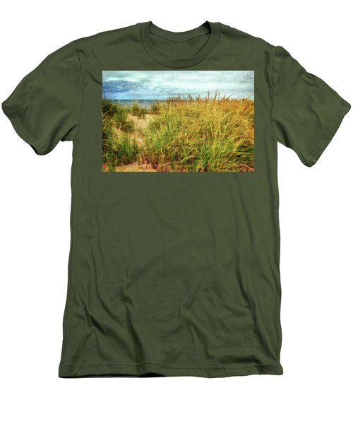 Men's T-Shirt (Athletic Fit) featuring the digital art Beach Grass Path - Painterly by Michelle Calkins