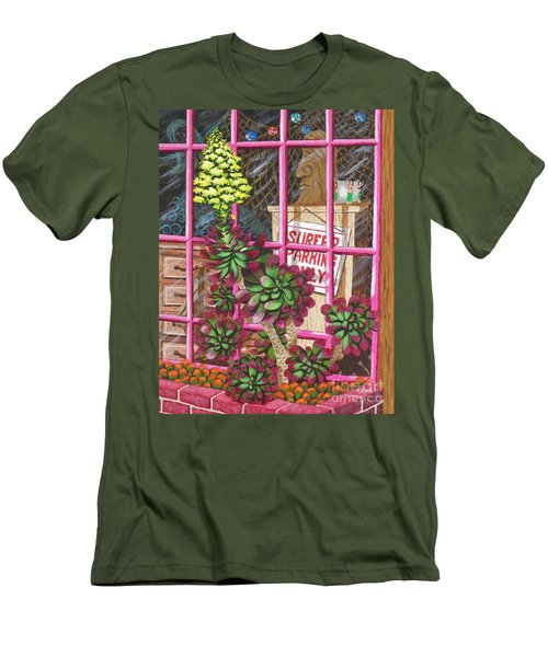 Men's T-Shirt (Slim Fit) featuring the painting Beach Side Storefront Window by Katherine Young-Beck