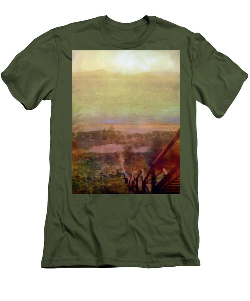 Men's T-Shirt (Athletic Fit) featuring the digital art Beach Stairs With Hazy Sky by Michelle Calkins