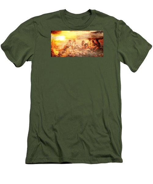 Beach Sunset With Friends Men's T-Shirt (Slim Fit) by Andrea Barbieri