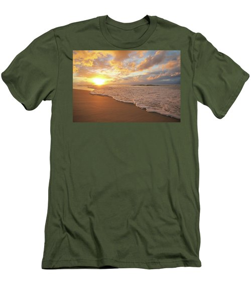 Beach Sunset With Golden Clouds Men's T-Shirt (Athletic Fit)