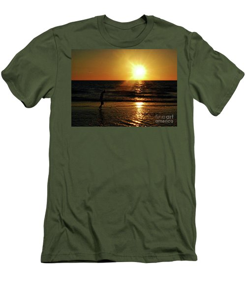 Men's T-Shirt (Slim Fit) featuring the photograph Beach Walking by Gary Wonning