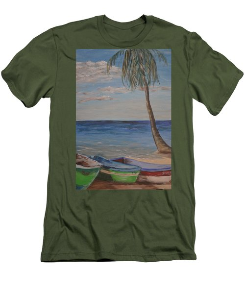 Men's T-Shirt (Slim Fit) featuring the painting Beached by Debbie Baker