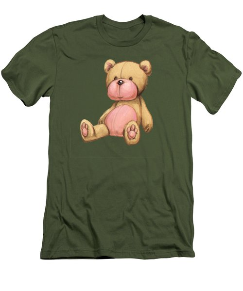 Bear Pink Men's T-Shirt (Slim Fit) by Andy Catling