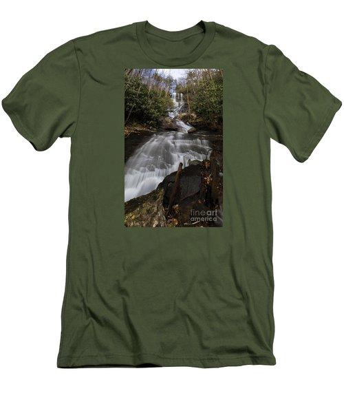 Men's T-Shirt (Slim Fit) featuring the photograph Bearden Falls Vertical by Barbara Bowen