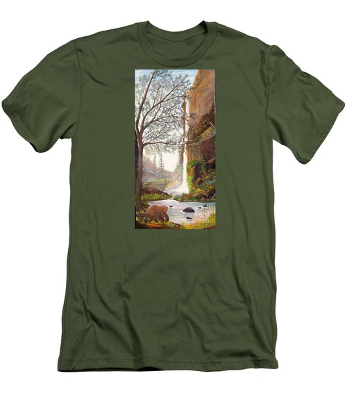 Bears At Waterfall Men's T-Shirt (Slim Fit) by Myrna Walsh