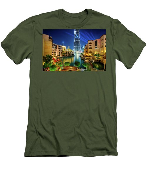 Beautiful Downtown Area In Dubai At Night, Dubai, United Arab Emirates Men's T-Shirt (Athletic Fit)