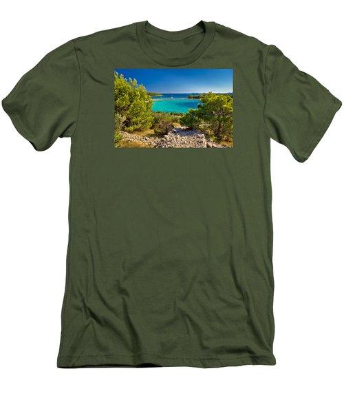 Beautiful Emerald Beach On Murter Island Men's T-Shirt (Slim Fit) by Brch Photography
