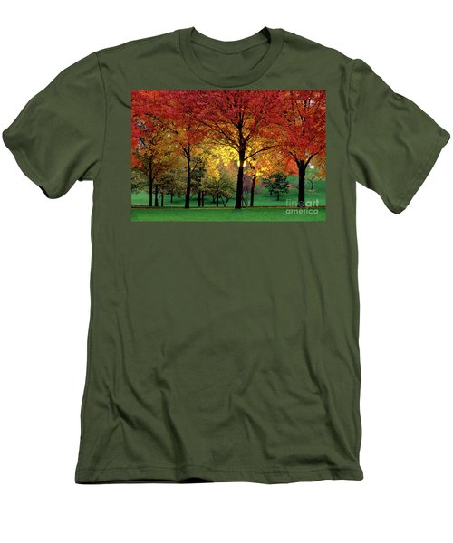 Beautiful Light At The Park In St. Louis In Autumn Men's T-Shirt (Slim Fit) by Wernher Krutein