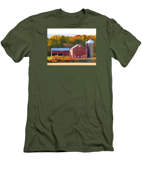 Men's T-Shirt (Slim Fit) featuring the painting Beautiful Red Barn 2 by Lanjee Chee