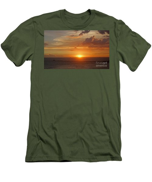 Men's T-Shirt (Slim Fit) featuring the photograph Beautiful Sunset At Kaohsiung Harbor by Yali Shi