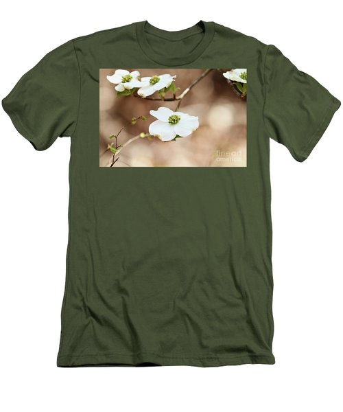 Beautiful White Flowering Dogwood Blossoms Men's T-Shirt (Slim Fit) by Stephanie Frey