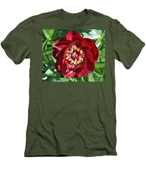 Beauty Peony Bloom Men's T-Shirt (Slim Fit) by Marsha Heiken