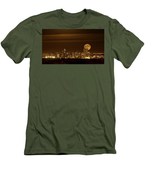 Men's T-Shirt (Slim Fit) featuring the photograph Beaver Moonrise by Kristal Kraft