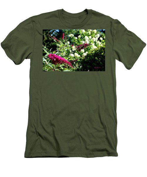 Men's T-Shirt (Athletic Fit) featuring the photograph Beckoning Butterfly Bush by Hanne Lore Koehler