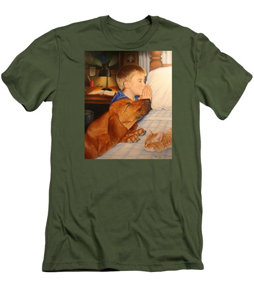 Men's T-Shirt (Slim Fit) featuring the painting Bed Time Prayers by Mike Ivey