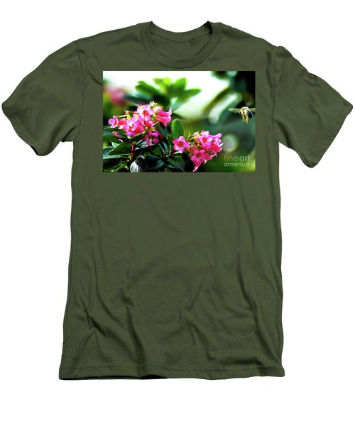 Men's T-Shirt (Slim Fit) featuring the photograph Bee In Flight by Micah May