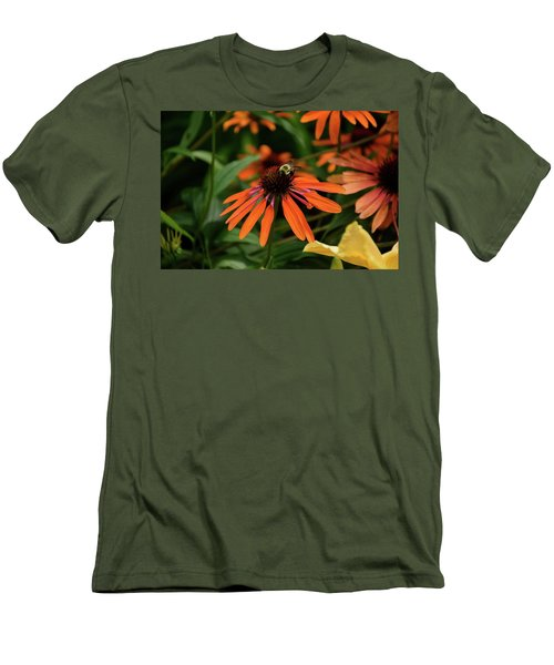 Bee Pollinating On A Cone Flower Men's T-Shirt (Athletic Fit)