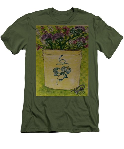 Men's T-Shirt (Slim Fit) featuring the painting Bee Sting Crock With Good Luck Bow Heather And Thistles by Kathy Marrs Chandler
