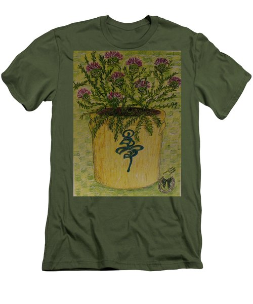 Men's T-Shirt (Slim Fit) featuring the painting Bee Sting Crock With Good Luck Horseshoe by Kathy Marrs Chandler