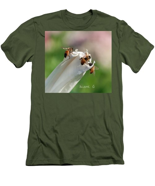 Bees On Angel Trumpet Men's T-Shirt (Athletic Fit)