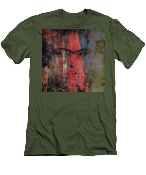 Men's T-Shirt (Slim Fit) featuring the painting Behind The Painted Smile by Paul Lovering