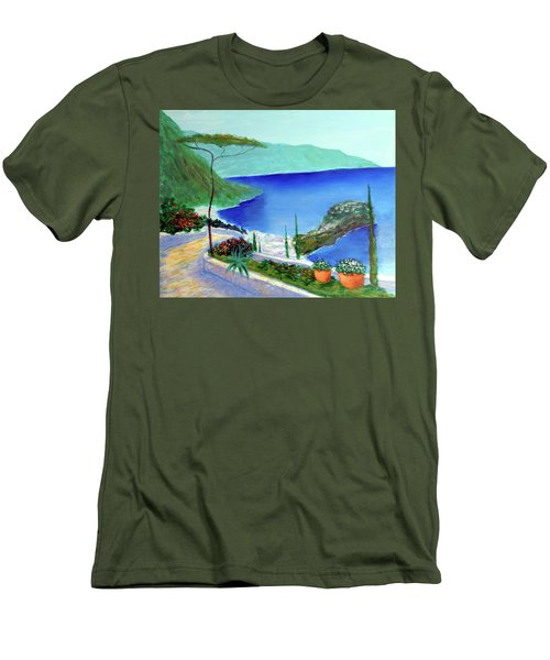 Men's T-Shirt (Slim Fit) featuring the painting Bella Monaco  by Larry Cirigliano