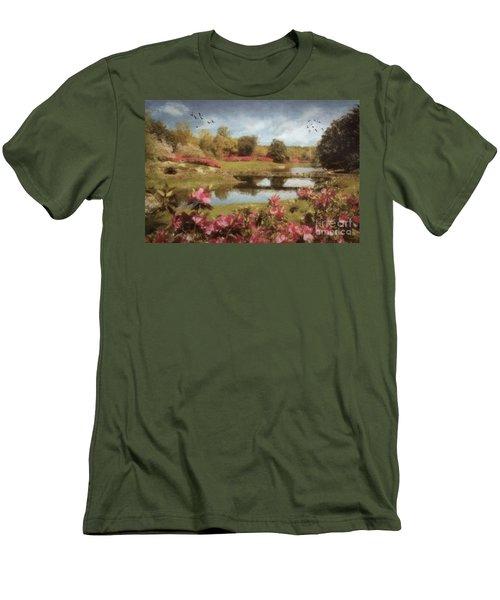 Men's T-Shirt (Slim Fit) featuring the digital art Bellingrath Gardens by Lianne Schneider