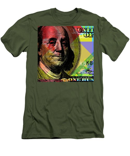 Benjamin Franklin - $100 Bill Men's T-Shirt (Slim Fit) by Jean luc Comperat