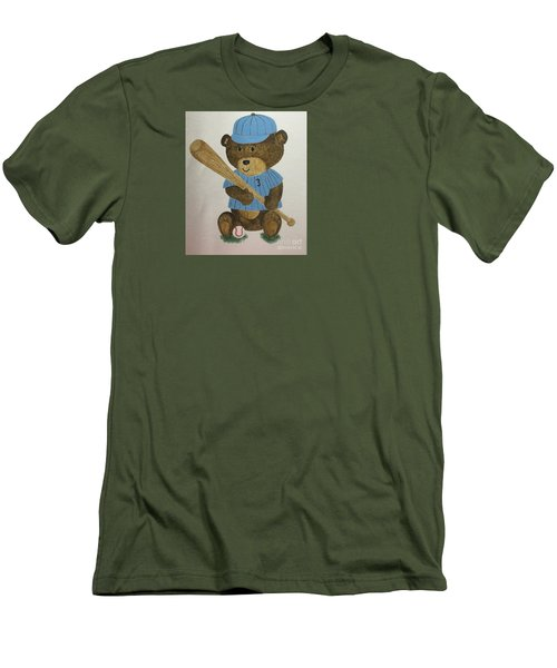 Men's T-Shirt (Slim Fit) featuring the painting Benny Bear Baseball by Tamir Barkan