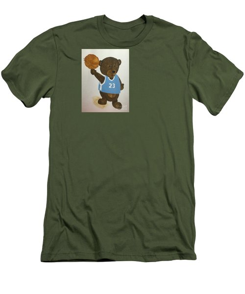 Men's T-Shirt (Slim Fit) featuring the painting Benny Bear Basketball  by Tamir Barkan