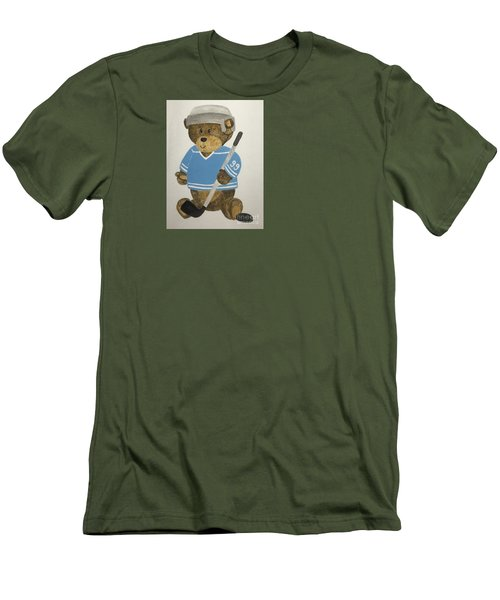Men's T-Shirt (Slim Fit) featuring the painting Benny Bear Hockey by Tamir Barkan