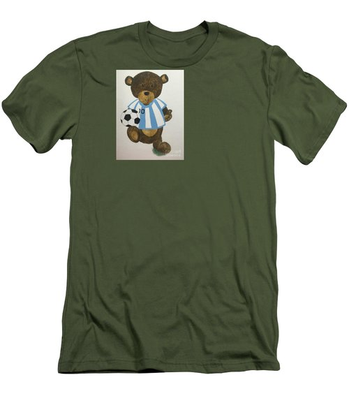 Men's T-Shirt (Slim Fit) featuring the painting Benny Bear Soccer by Tamir Barkan